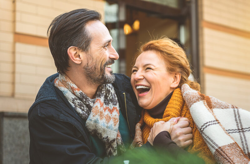 Happy middle age couple with healthy eyes
