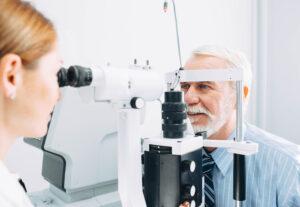 Senior man during an eye exam
